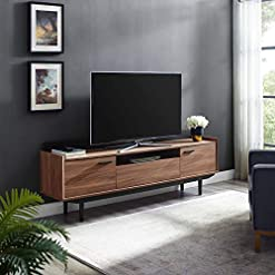 Living Room Modway Visionary 70″ Mid-Century Modern Low Profile Entertainment TV Stand in Walnut Black modern tv stands
