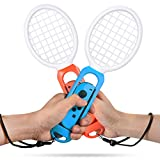 Tennis Racket for Nintendo Switch Joy-Con Controller, Accessories for Nintendo Switch Game Mario Tennis Aces - Twin Pack ( Blue and Red )