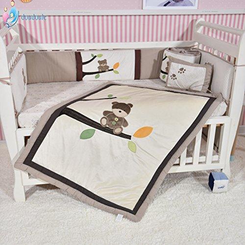 Forest Bear Crib Set Cotton Beige Infant Bedding 7 PCs Set Unisex Baby Bedding Set Nursery Bedding Set Bumpers Pillow Baby Gift Idea CribMATE
