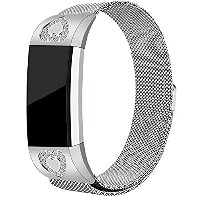 For Fitbit Charge 2 Bands, Stainless Steel Milanese Loop Metal Charge 2 Bands Replacement Accessories with Unique Magnet Lock, Large, WhiteDiamond