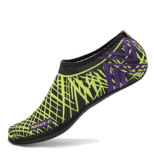 CIOR 3. Verbesserte Version Durable Sohle Barfuß Wasser Haut Schuhe Aqua Socken für Beach Pool Sand Schwimmen Surf Yoga Wassergymnastik 04grün