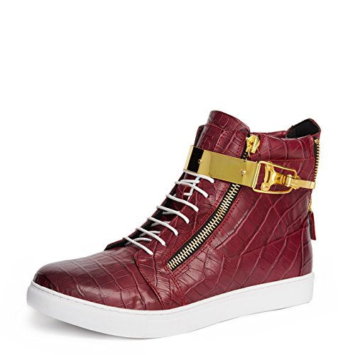 Jump J75 Men's Zeus Round Toe Leather Lace-Up High-Top Sneaker Burgundy 11 D US Men