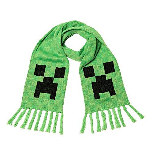 JINX Minecraft Creeper Face Fringed Knit Scarf, Green, 60 x 8