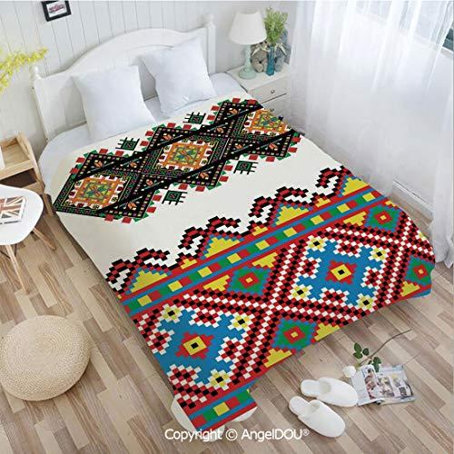 (AngelDOU Printed Super Soft Warm Bed Throw Blanket W59 xL78 Retro Ukrainian Embroidery Ornament Traditional Cultural Folk Heritage Artful Design for Women Men Girls Kids Pet.)