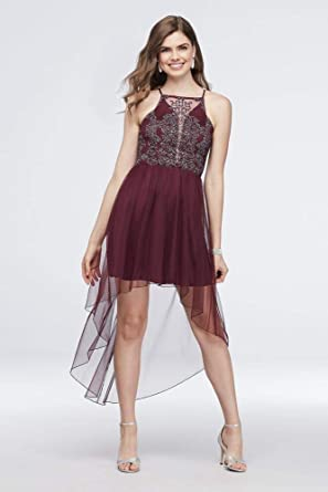 Davids Bridal Embroidered Mesh Prom Dress High-Low Skirt Style D68543TGQ, Burgundy, ...
