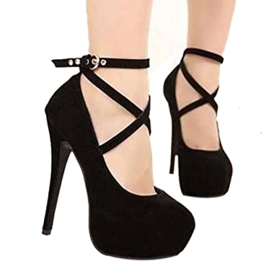 bc3128ac4ff11 buytra Women's Sexy Fashion Platform Pumps Strappy Buckle Stiletto High  Heels Shoes