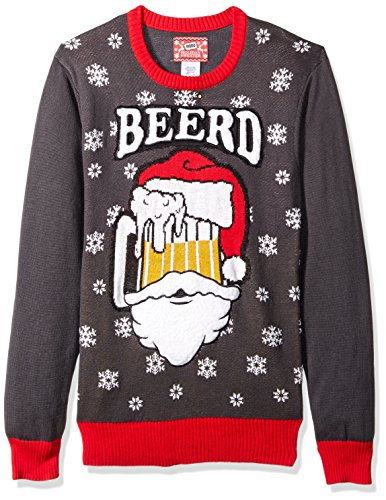 Hybrid Apparel Men's Ugly Christmas Sweater, Santa Beerd/Charcoal, X-Large