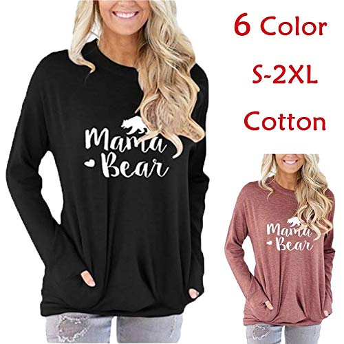 (Hylong Women's Crew Neck Mama Bear Letter Printed T-Shirt Long Sleeve Casual Pullover Sweatshirt with Pocket (Black,M) )