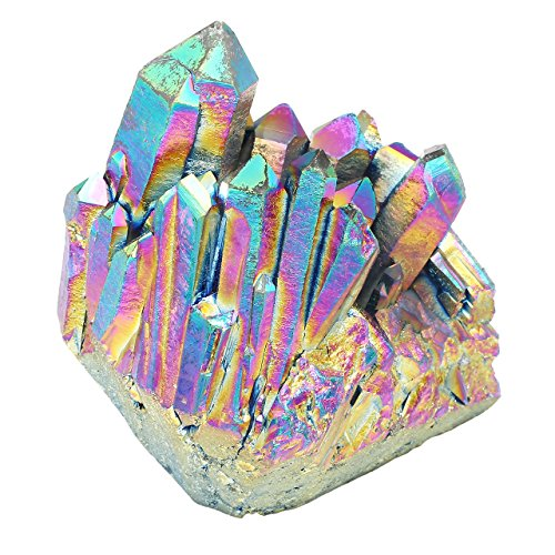 - Top Plaza Healing Crystals Titanium Coated Rock Crystal Quartz Cluster Mineral Geode Druzy Specimen 1.85-2.5''(Green+Multi Color)