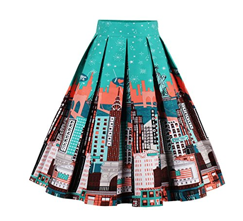 Relipop+Women+Floral+Pleated+Knee+Length+A-line+Skirt+%28Large%2C+Green%29