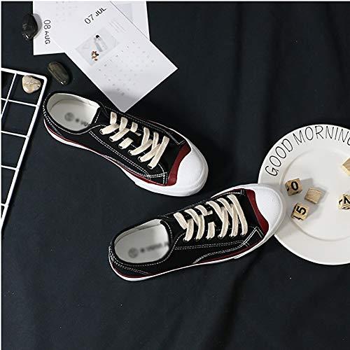 Sneakers top Low Donna Moda Da Camminare Casual Black Up Confortevole Tela Lace Per 1AFTBxwq