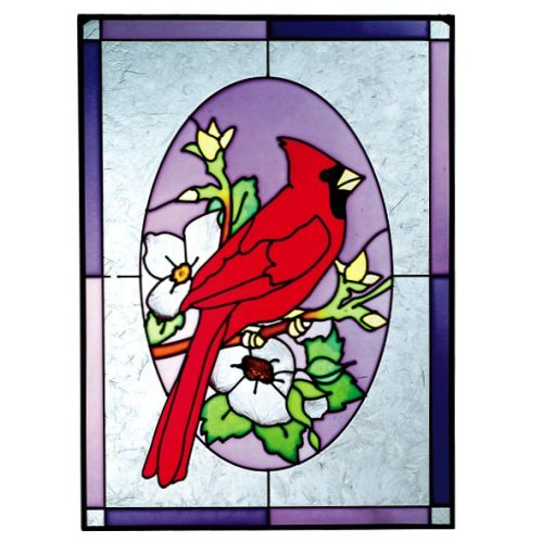 Red CARDINAL Art Glass    Flower Suncatcher