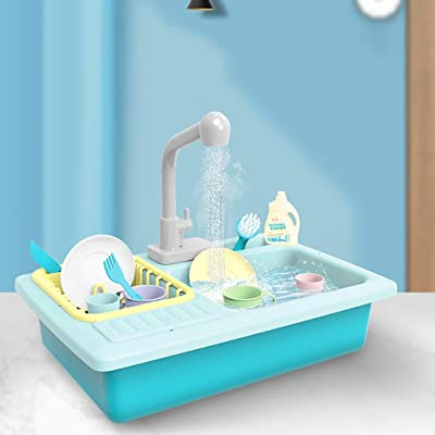 Luonita Color Changing Kitchen Sink Toys Play Kitchen Accessories Toy Pretend Sink Playset with Running Water and Plates Dishes Utensils Set House Pretend Role Play Toys for Kids Boys Girls (Blue): Home & Kitchen [5Bkhe0306151]