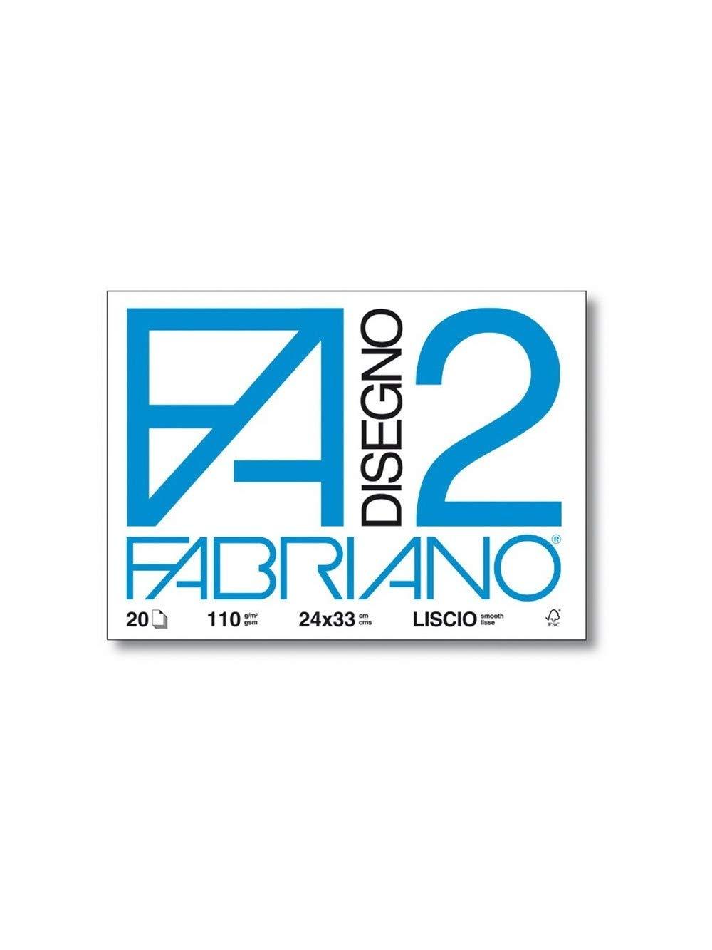 Fabriano F2 06201534, Album da Disegno, Formato 33 x 48 cm, Fogli Lisci Riquadrati, Grammatura 110gr/m2, 12 Fogli 437553