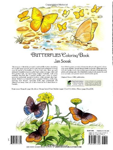 Dover Publications Butterflies Coloring Book Nature Jan Sovak 9780486273358 Amazon Books