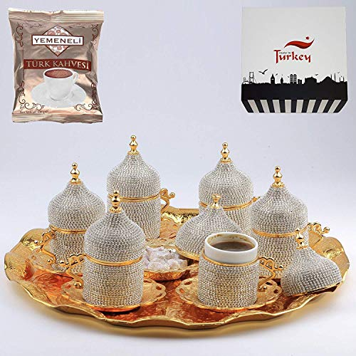 27 Pc Turkish Coffee Cup Set Saucers Holders Spoons Decorated with Swarovski Silver ()