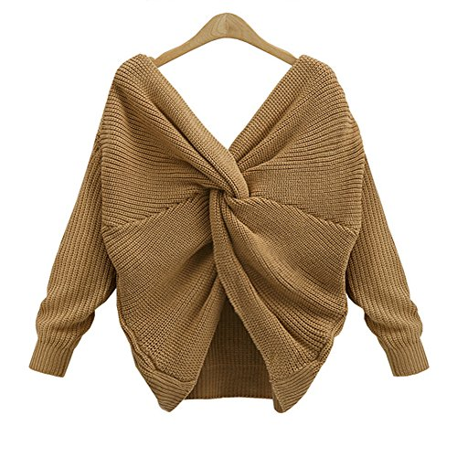 Cheap LifeShe V Neck Women Sweaters and Pullovers Twisted Back Jumpers hot sale