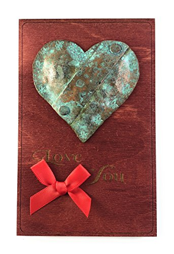 Handmade Valentine's Day Card, hammered copper heart with aged verdigris patina on wood. More than a card, for that very special person. Say