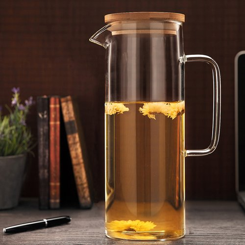 Cosy-Yc Glass Pitcher With Lid, Pitcher For Fridge, Water Pitcher 42oz,Glass Straight Kettle With Handle (1200ML 42oz) by Cosy-Yc