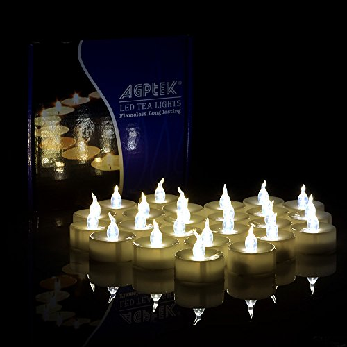 AGPtek® 100 PCS Battery Operated Flameless LED Tealights Candles - Warm white (Plastic Tealight Holders)