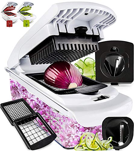 Fullstar Vegetable Chopper - Spiralizer Vegetable Slicer - Onion Chopper with Container - Pro Food Chopper - Slicer Dicer Cutter - 4 Blades (Best Food Chopper Dicer)