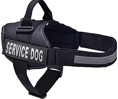 BINGPET Nylon Comfort Reflective Service Dog Harness Adjustable Vest Come With 2 Removable Patches