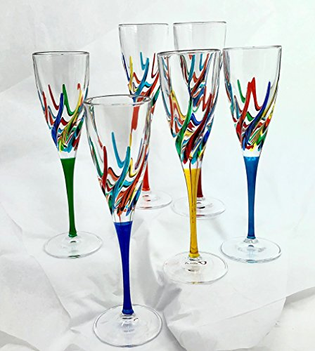 Champagne Flutes, Set 6 (Flutes Painted Hand Champagne)