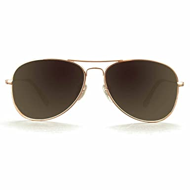 8b7e37d4e9144 KZ Aviator Medium Polarized Sunglasses for Men and Women (Rose Gold Metal  Frame
