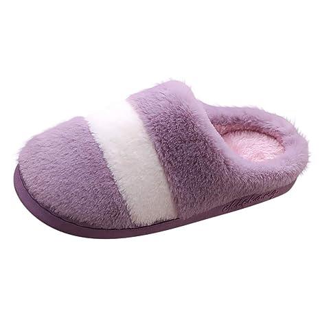Dasongff Pantuflas de felpa para mujer, para invierno, para ...