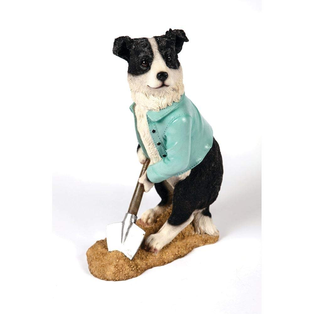"""Outdoor Garden Patio Resin Digging Collie Dog Statue Figurine Ornament from Hampton Style 13.7"""" (H) x 4.7"""" (D)"""