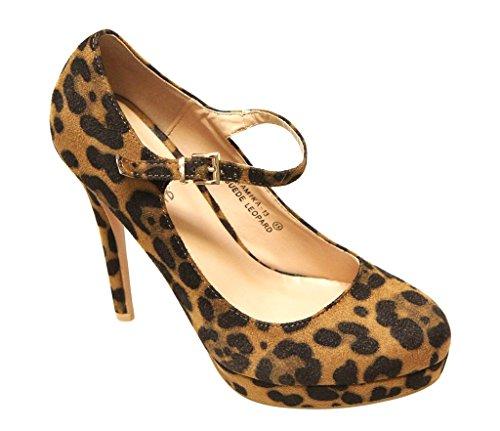 Bella Marie Tamika-13 Vrouwen Amandel Teen Platform Hoge Hak Mary Jane Piepende Suede Pumps Schoenen Leopard