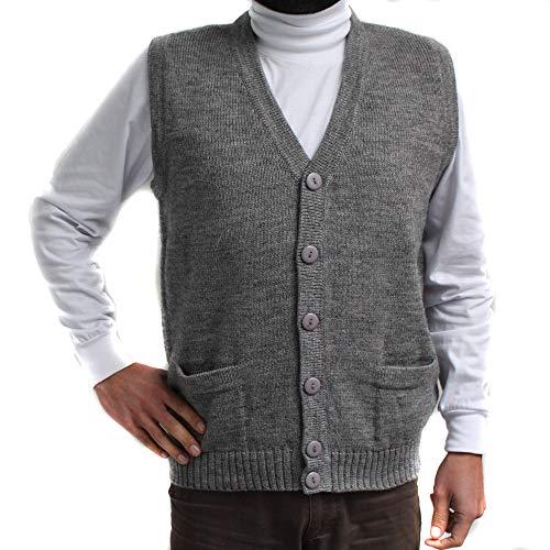 [해외]조끼 알파 카와 혼합 V 넥 버튼 페루에서 만든 버튼과 포켓 그레이 / Vest alpaca and blend V neck buttons JERSEY made in PERU buttons and Pockets GREY