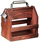 wembley beer - Wembley Wooden Six Pack Beer and Soda Holder With Bottle Opener, Brown, One Size