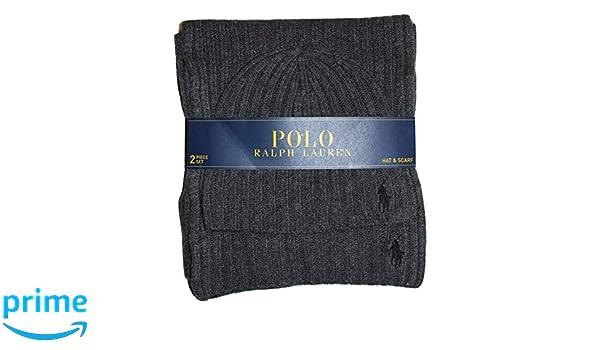 Polo Ralph Lauren Men s 2 Piece Set Hat   Scarf Charcoal Grey Lambswool  Blend at Amazon Men s Clothing store  57f92b3c57442