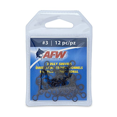 American Fishing Wire Brass 3-Way Swivels with Stainless Steel Rings (12-Piece), Black, Size #3