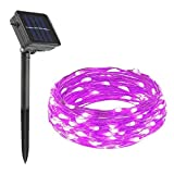 Cheerswill Waterproof LED Solar Copper Wire String Lights Decorative Christmas Lights Strip for Wedding Parties Twinkle Lights (100 Leds,12m,Purple)