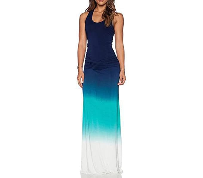 f2ccc1d8b5 Vska Women Sleeveless Ombre Floral Spring Fitted Crew-Neck Beach Dress  Light Blue 2XL