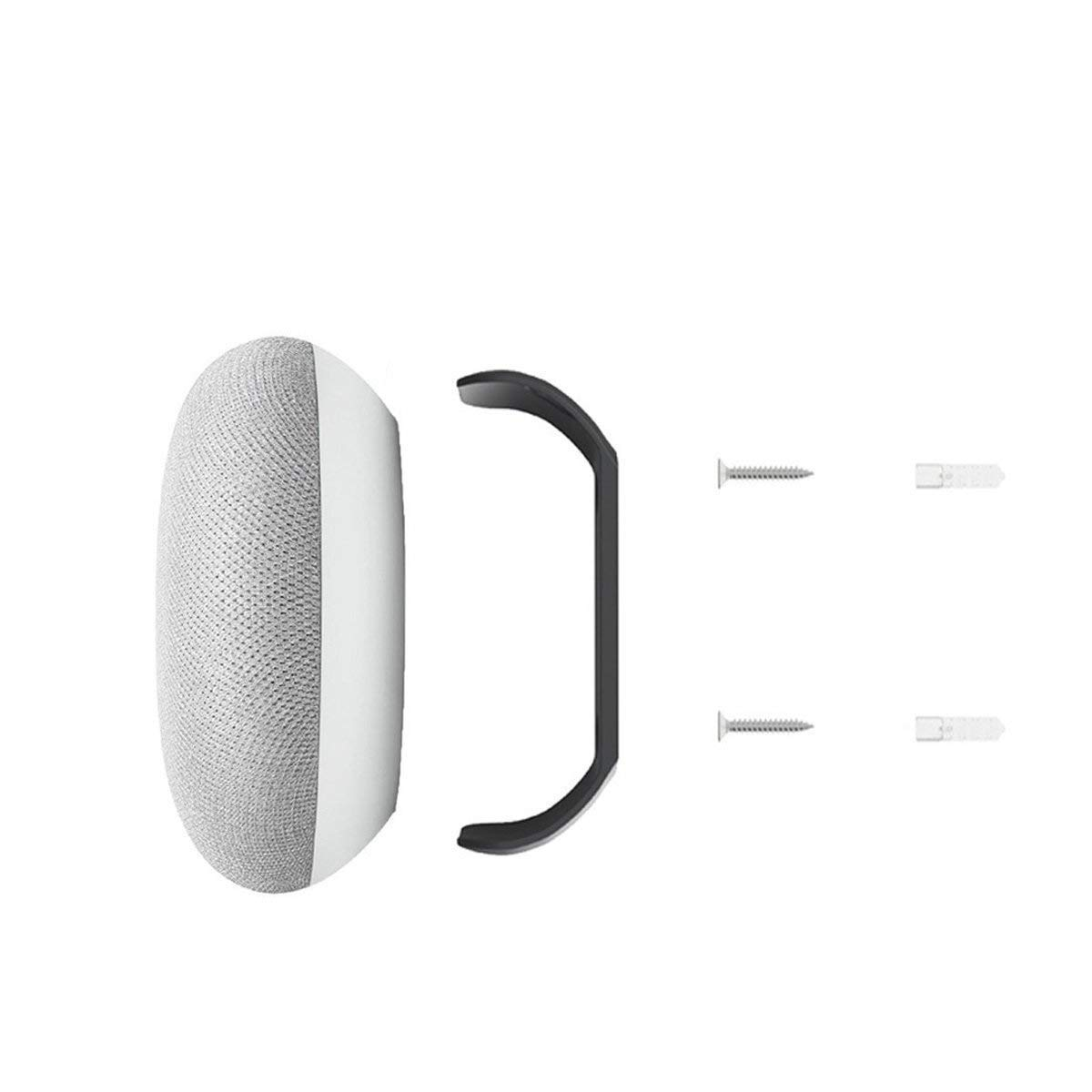 Fstop Labs Wall Mount Holder Stand for Google Home Mini Round Speaker Accessories (Black) 2 Pack
