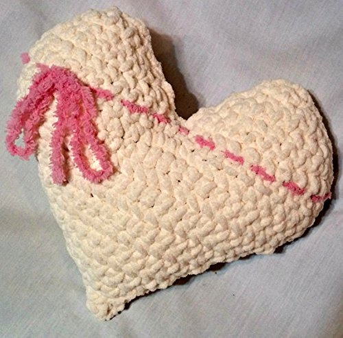 Crochet Plush Heart Accent Pillow – Valentine's Day Decor by Shay's Crochet Creation