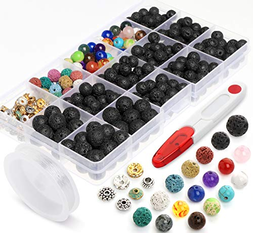 Lava Beads Stone Rock 8mm 10mm 400pcs Kit with Chakra Bead and Spacer Beads for Essential Oils Jewelry Bracelets Making ()