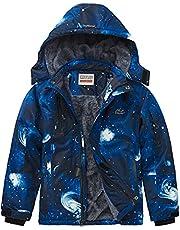 WULFUL Boy's Waterproof Ski Jacket Warm Fleece Hooded Windproof Winter Snow Coat