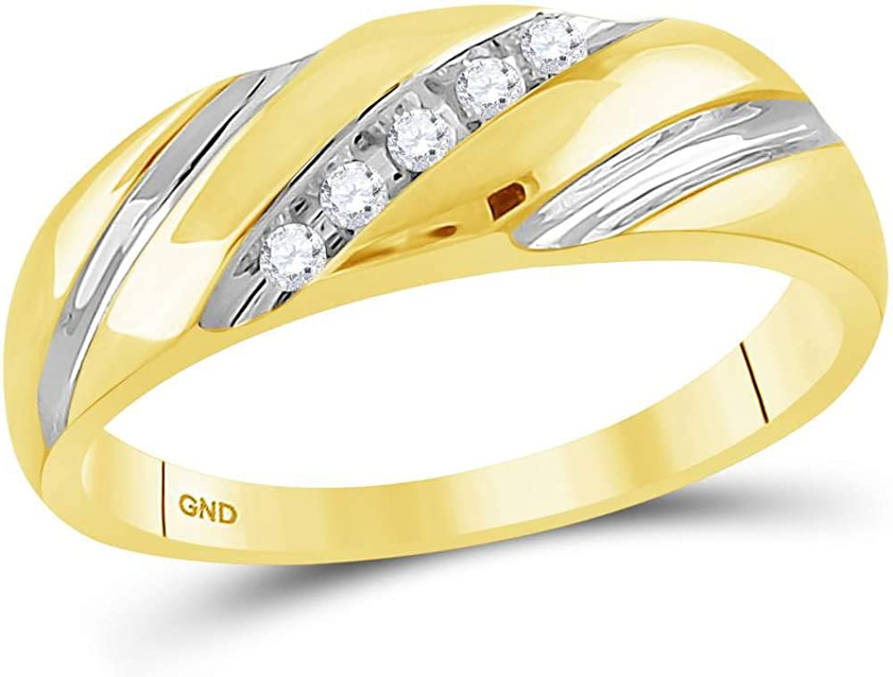 14kt Two-tone Gold Mens Round Diamond Wedding Band Ring 1//10 Cttw