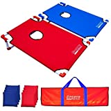 Sports Festival Portable Cornhole Game Set: 2 foldable boards, incl. 8 beanbags (4 Red+4 Blue) and 1 carrying bag