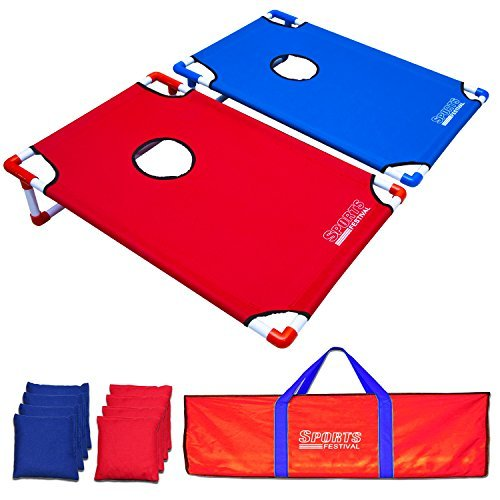 Sports Festival Portable Cornhole Game Set: 2 foldable boards, incl. 8 beanbags (4 Red+4 Blue) and 1 carrying bag by Sports Festival