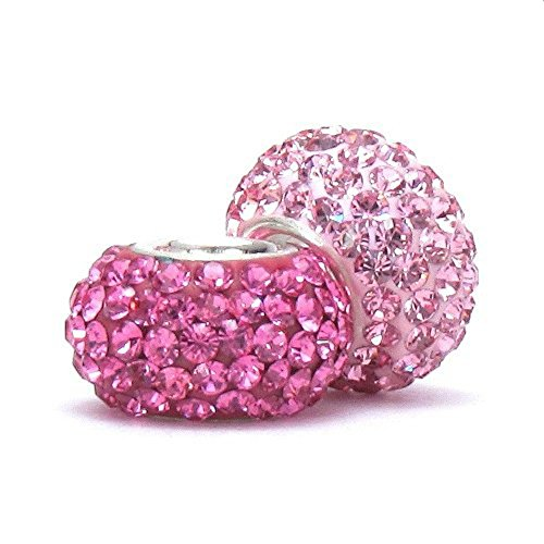 BELLA FASCINI Set of 2 Pink and Raspberry Crystal Pave Charm Beads Silver Fits European Bracelets (Set Pave Beads Crystal)