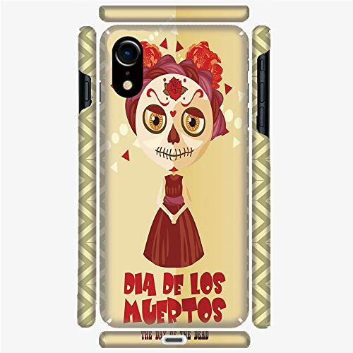 Phone Case Compatible with 3D Printed iPhone X/XS DIY Fashion Picture,Dia de Los Muertos Print Girl with Gothic Makeup,Personalized Designed Hard Plastic Cell Phone Back Cover Shell -