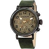 Akribos XXIV Men's AK1028GN Multifunction Gun & Olive Green Leather Strap Watch