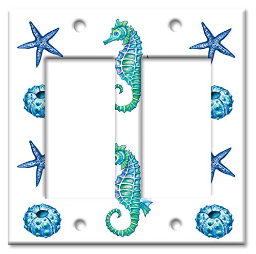 Art Plates Brand Double Gang Rocker (Decora) Switch/Wall Plate - Colorful Seahorse & - Horse Covers Switch Light