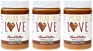 product image for Spread The Love UNSALTED Almond Butter (All Natural, Vegan, Gluten-free, Creamy, No added salt, No added sugar, No palm fruit oil, Not pasteurized with PPO) (3-Pack)