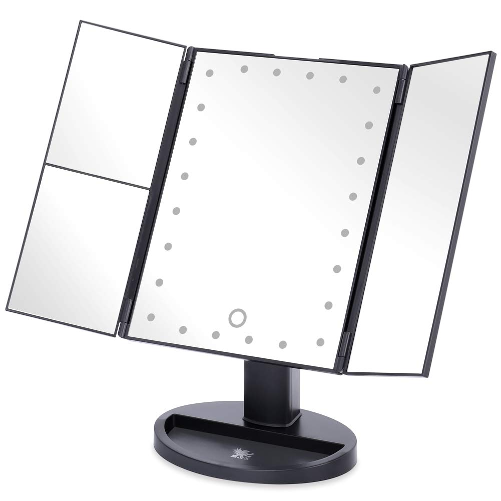 H&S® Tri-fold Makeup Mirror With Lights/Light Up Mirror/LED Lighted Make-up Mirror 2 x 3x Magnification Magnifying Illuminated Cosmetic Mirror with LED Lights Desk Free Standing Portable Black H and S Alliance UK Ltd